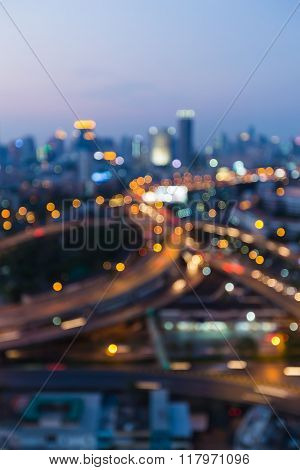 Blurred bokeh background city downtown background  with highway interchanged