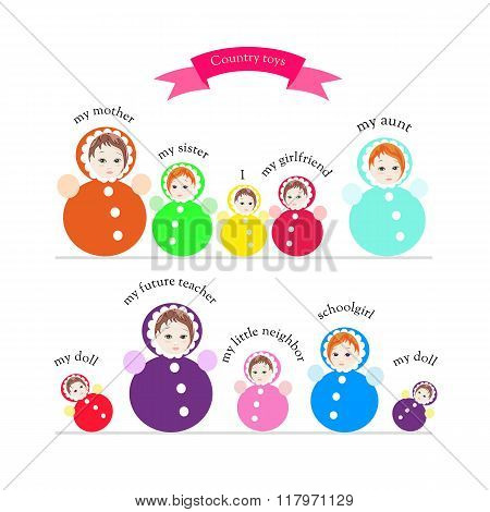 Country Toys. Cute Collection Of Bright Colorful Roly-poly Toys. Childish Vector Illustration.