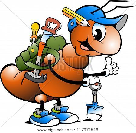 Vector Cartoon Illustration Of A Happy Working Ant