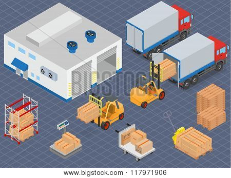 Loading or unloading a truck in the warehouse. Warehouse equipment.