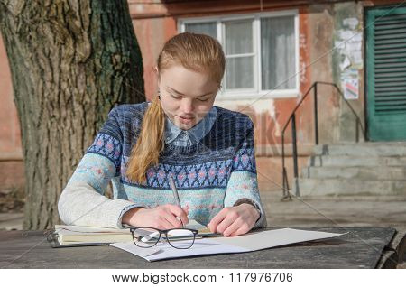 Girl Student Writing Work