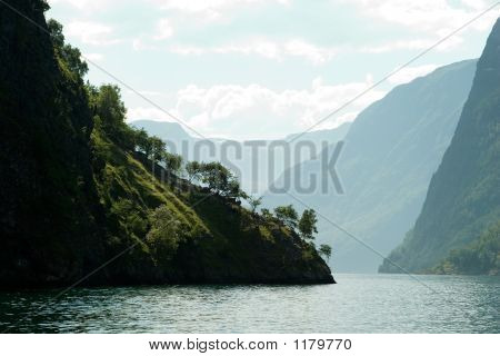 fjord scenic from the pass between aurlandsfjord and naeroyfjord (nжrшyfjord) in sognefjord norway poster