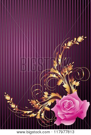 Golden Ornament And Rose