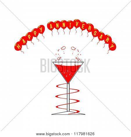 Wine Glass And Happy Anniversary Balloons