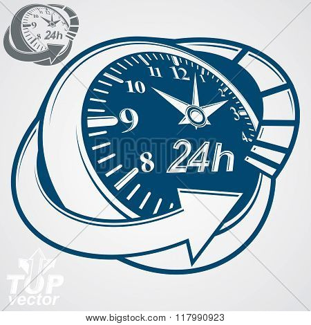 3D Vector Round 24 Hours Clock With Arrow Around, Simple Version Included. Business Graphic Perspect