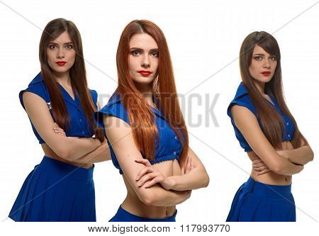 group of three serious women. triplets sisters