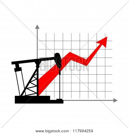 Graphic Growth  And Oil Rig. Oil Quotations Grow Up. Info Graphic Oil Production. Red Arrow Price In
