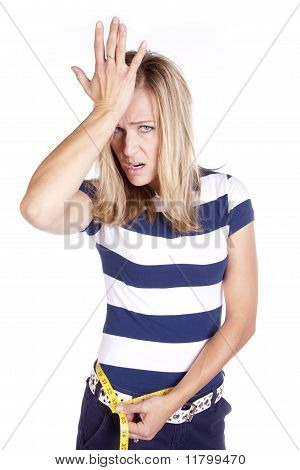 Woman Blue And White Frustrated With Measurement
