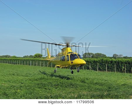 Yellow Helicopter Rescue Air Ambulance Take-off