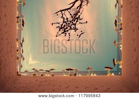 bend quiet sandy beach at sunrise, Ada Bojana, Montenegro