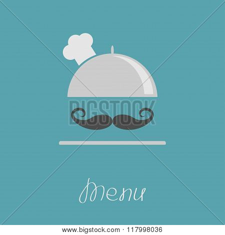 Silver Platter Cloche Chef Hat With Big Curl Moustache. Menu Card. Flat Design.