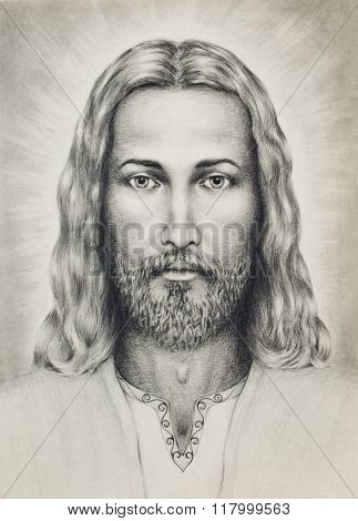 pencils drawing of Jesus on vintage paper, with ornament on clothing. eye contact.