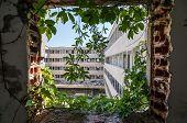 Abandoned hotel in former Tourist Complex of Kupari village Croatia poster