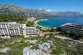 Aerial view on abandoned Tourist Complex in Kupari village Croatia poster