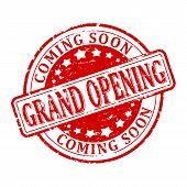 Scratched round red stamp with the words - grand opening - coming soon - vector poster