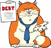 Cartoon cat requires debt repayment vector illustration poster