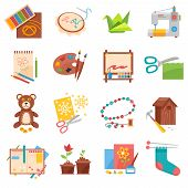 Hobbies flat icons set with sewing origami making and beading isolated vector illustration poster