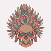 Vector illustration of human skull in native american indian chief headdress poster