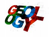Studying concept: Pixelated multicolor text Geology on Digital background poster