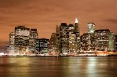 manhattan skyline at night lights new york city poster