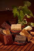 Aesthetic natural soap bars in wooden box. poster
