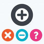 Plus and minus icons. Delete and question FAQ mark signs. Enlarge zoom symbol. Circle flat buttons with icon. poster