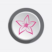 Lilia,  orchid flower icons. Floral symbol. Red sign on round three-dimensional white-gray button. Vector poster