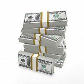 Stack of 100 dollar bills, a 3d render illustration poster