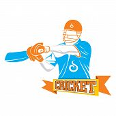 batsmen ready to hit off drive position design with cricket banner poster