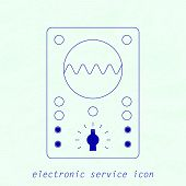 Vector Blue Icon of analogue electrical measuring instrument.   Oscillograph, Multimeter, voltmeter, ampermeter for your designs, logo, web and other projects poster