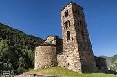 San Joan de Caselles (Andorra) romanesque church in a mountain environment at summer poster