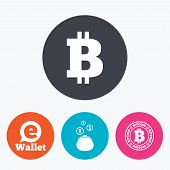 Bitcoin icons. Electronic wallet sign. Cash money symbol. Circle flat buttons with icon. poster