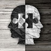 Racial ethnic social issue and equality concept or cultural justice symbol as a black and white crumpled paper shaped as a human head on old rustic wood background with a puzzle piece as a metaphor for social race issues. poster