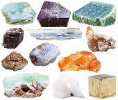 set of natural mineral crystal gemstones - nephrite kyanite garnet pyrite schorl topaz zircon in rock chalcedony apatite chrysoprase carnelian cacholong (white opal) stones isolated poster