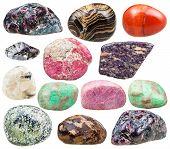 set of natural mineral tumbled gemstones - baryte barite garnet almandine alunite serpentine serpentinite rhodonite red jasper variscite thulite quartz bronzite stones isolated on white poster
