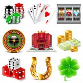 Casino and gambling icons detailed photo realistic vector set poster