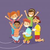 Children Group Holding Joystick Playing Computer Video Game Flat Vector Illustraton poster