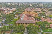 Stanford campus historical buildings and Palo Alto cityscape poster