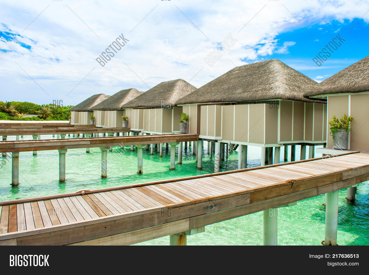 High Quality Wooden Villas Over Water Of The Indian Ocean, Maldives
