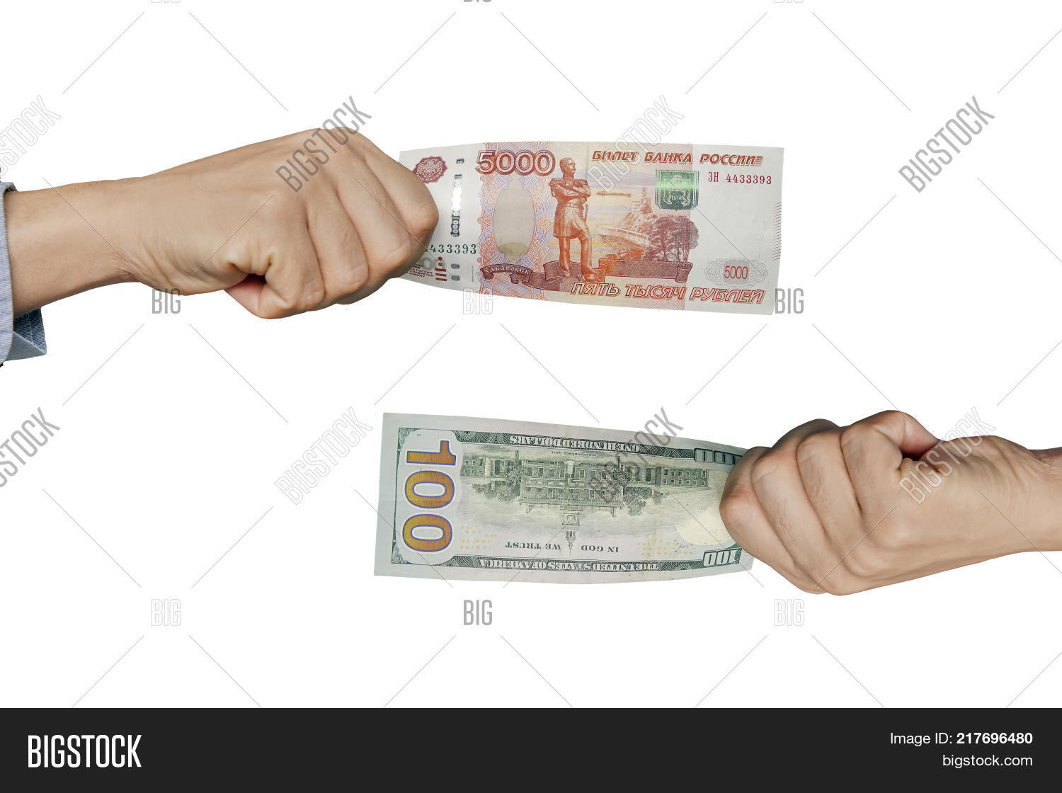 Hands Exchange Rubles Image Photo Free Trial Stock