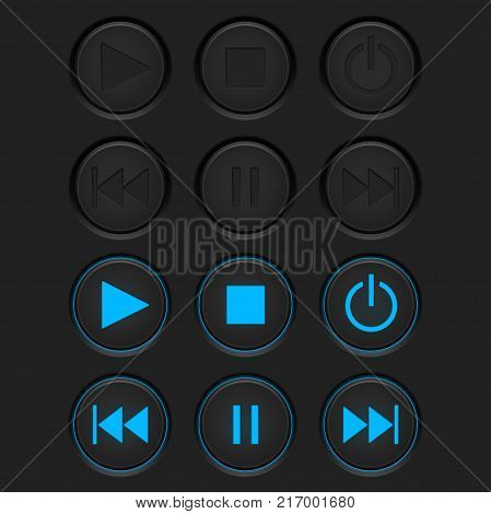Media player buttons set. Normal and active pushed. Vector illustration