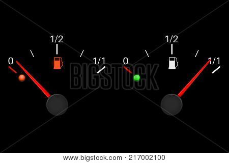 Fuel gauge scale. Almost empty, almost full. Vector 3d illustration