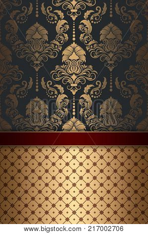 Decorative background with golden patterns. Vintage style.