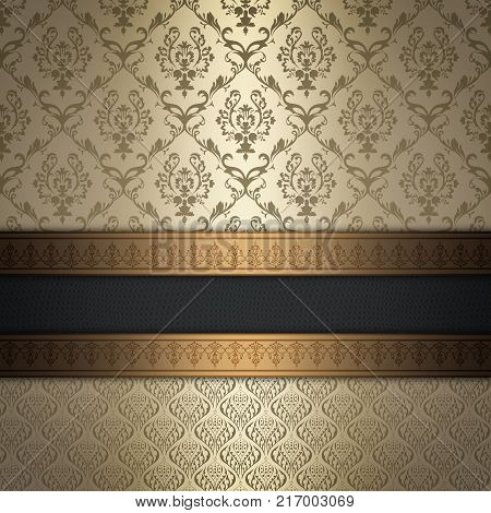 Old-fashioned background with decorative vintage patterns and elegant border.