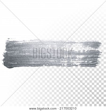 Silver glitter paint brush stroke or abstract dab smear in smudge texture on transparent background for luxury greeting card design. Isolated glittering sparkling silver paint ink splash stain poster