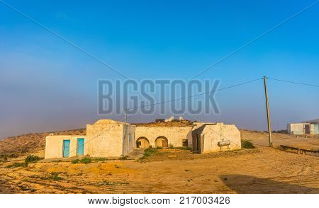 Typical berber house in the Tunisian countryside at Tataouine. North Africa