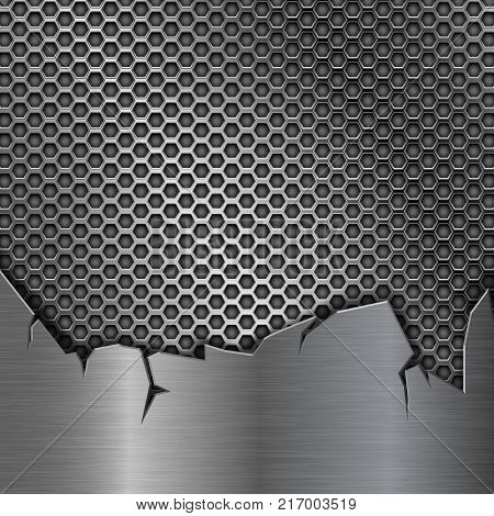 Metal perforated background with torn metal edges. Vector 3d illustration