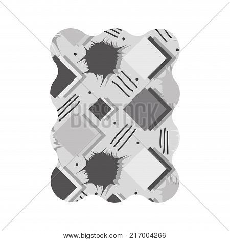 contour grayscale rectangle with memphis style geometric background vector illustration
