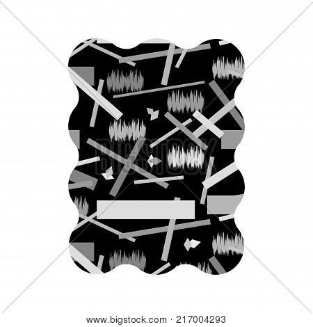 contour grayscale rectangle with abstract figures memphis background vector illustration