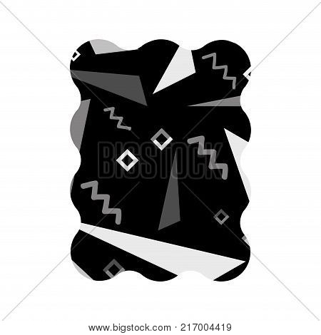 contour grayscale rectangle with memphis style abstract background vector illustration